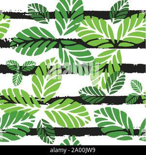 Motif transparent tropical avec des feuilles vertes Banque D'Images