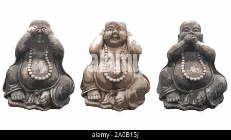 """Illustration de trois statues de Bouddha dans la pose des trois singes sages 'voir aucun mal, ne rien entendre, ne rien dire"""" isolated on white Banque D'Images"""
