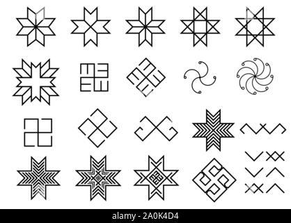 Ensemble de vieux symboles lettone ancienne folklorique baltique Banque D'Images