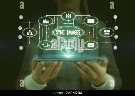 Synchronisez des images montrant des signes de texte. Photo d'entreprise présentant des photos identiques dans tous les dispositifs accessibles n'importe où Femme Combinaison de travail formel usure présenta Banque D'Images