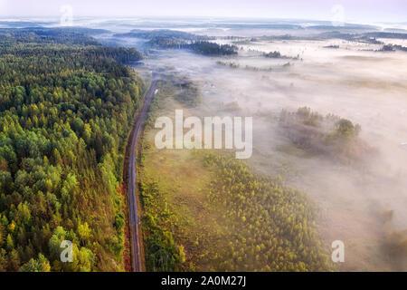 Chemin de fer à voie unique à travers la forêt brumeuse vue aérienne à matin d'été