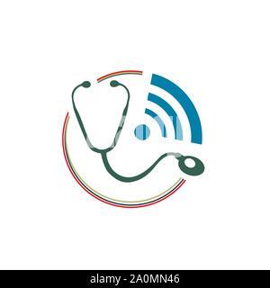Service de santé en ligne logo croix médicale médecin en ligne vecteur symbole de conception de logo