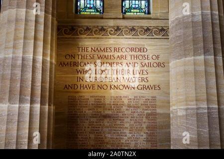 Intérieur de la chapelle dans la section américaine de les cimetières militaires au cimetière de Brookwood, Pirbright, Woking, Surrey, Angleterre du Sud-Est, Royaume-Uni Banque D'Images
