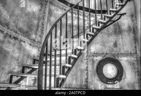 L'escalier en spirale menant à la partie supérieure de Gibbs Hill Lighthouse en escalier.Bermudes Banque D'Images