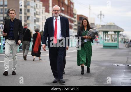 Jeremy Corbyn sur le front de mer de Brighton au cours de la conférence du parti travailliste au centre de Brighton à Brighton. PA Photo. Photo Date: Dimanche 22 Septembre, 2019. Voir l'activité de la main-d'histoire. Crédit photo doit se lire: Victoria Jones/PA Wire