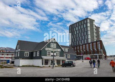 Local commercial dans le centre de Nuuk, Groenland. Banque D'Images