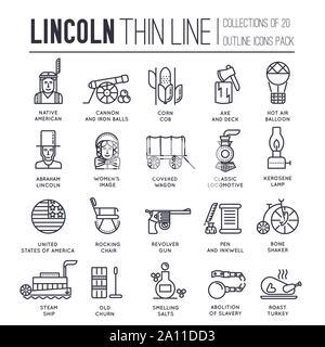 Le Président de jour en USA fine ligne d'icônes sur blanc. Les meilleurs moments de la vie d'Abraham Lincoln pictogrammes contour collection. Les progrès technologiques du 19ème siècle au élément du vecteur pour l'infographie, web. Banque D'Images