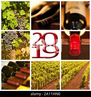 Vin rouge 2019 photos carrées collage carte de souhaits Banque D'Images