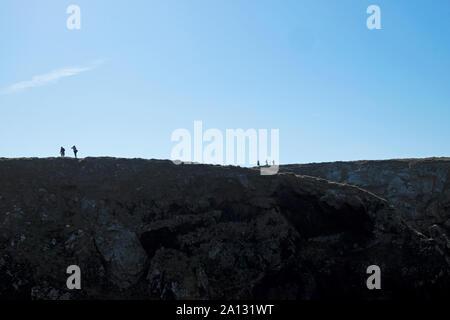 Les gens les randonneurs marcheurs watchers joint debout sur le bord d'une falaise sur le chemin côtier du Pembrokeshire, Pays de Galles au Pays de Galles UK KATHY DEWITT Banque D'Images
