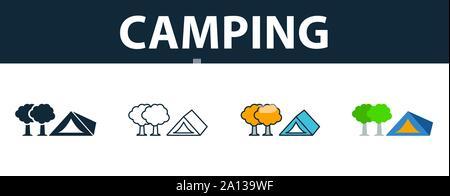 Camping icon set. Quatre symboles simples dans diférents styles à partir de symboles touristiques collection. Camping créatif rempli d'icônes de couleur, contours, et télévision
