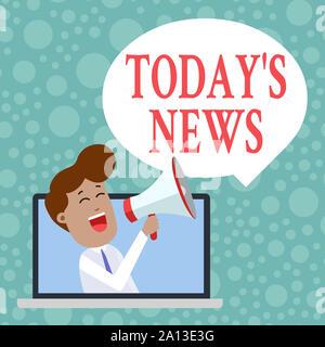 Texte de l'écriture aujourd'hui S Nouvelles. Photo conceptuelle Dernières actualités les dernières mises à jour l'homme de tendance générale à travers un ordinateur portable en Loudhailer vierge Banque D'Images