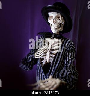 L'Halloween est à venir bientôt, squelette en costume rayé et hat invite à la fête d'Halloween, concept. Banque D'Images