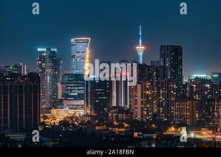 Chengdu, province du Sichuan, Chine - Sept 21, 2019: Chengdu centre-ville Vue aérienne de nuit Banque D'Images