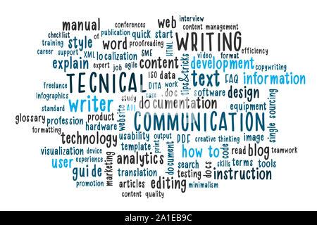 Rédaction technique nuage de mots. Rédacteur technique ou communicator, documentation, profession concept. L'illustration. Banque D'Images