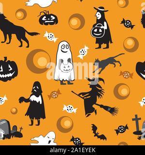 Vector pattern transparente avec différentes icônes d'Halloween (bat, sorcière, fantôme, tombe, chat noir, loup, cimetière, bonbons, citrouille) sur fond orange, sto Banque D'Images