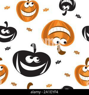Transparente avec motif vecteur forme différents Halloween citrouille en noir et orange et des bonbons sur fond blanc, stock illustration pour desig Banque D'Images