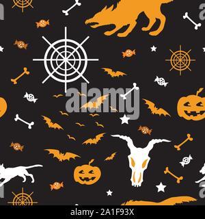 Vector pattern transparente avec différentes icônes d'Halloween (bat, crâne avec hornes, web, un loup-garou, les bonbons, la Citrouille) sur fond noir, stock illustration Banque D'Images