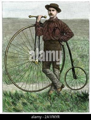 Thomas Stevens, première personne à monter à vélo autour du monde, sur l'US Great Plains, 1884. À la main, gravure sur bois Banque D'Images
