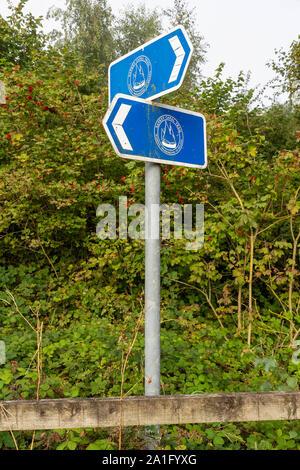 Panneau à côté de la promenade le long du sentier de la Sankey à Winwick Quay, Warrington Banque D'Images