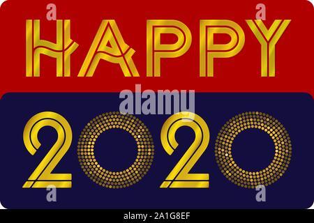 Happy 2020 texte avec des dégradés et des ombres. Les changements de couleur facile. Vector illustration. Banque D'Images