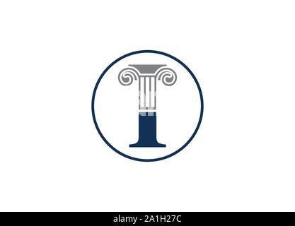 Pilier droit lettre avec logo design, logo modèle vecteur colonne, pilier droit lettre icône vecteur logo, Attorney at Law, de conception de logo Banque D'Images