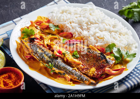 Saba grillé, curry Panang curry jaune avec le maquereau poisson servi avec riz long grain cuit à la vapeur sur une plaque sur une table béton vue du dessus, à proximité- Banque D'Images