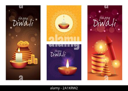 Happy Diwali fête indienne Design Banque D'Images