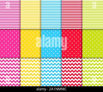Parsemé de couleurs et motifs à rayures fond vecteur transparent Banque D'Images