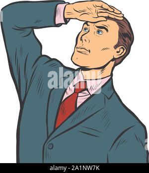 Young leader recherche loin devant. Retro pop art dessin illustration vectorielle Banque D'Images