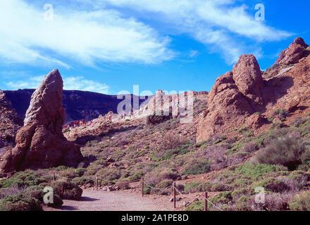 Roques de Garcia. Le Parc National du Teide, Tenerife, Canaries, Espagne. Banque D'Images