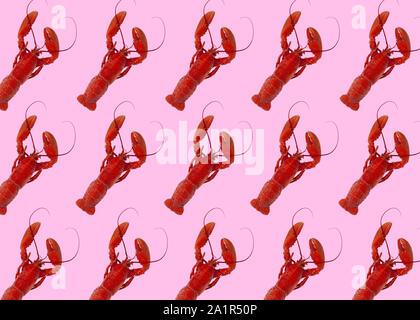 Les homards fraîchement bouillie en rouge sur fond rose. Droit
