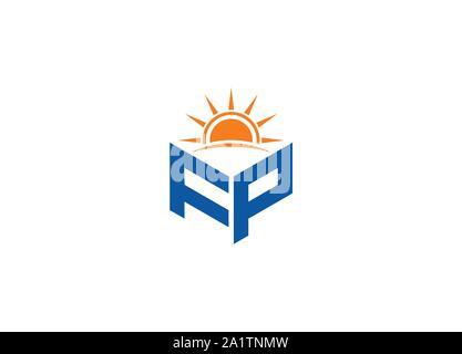 Résumé Lettre polygonal, Logo logo lettre hexagonale, polygonale Lettre avec logo Sun chanter et symbole, un monogramme logo, logo Sun design, logo coucher de soleil Banque D'Images