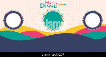 Diwali festival des lumières célébrer Diwali en Inde, vente Design de bannières avec une belle offre de remise Banque D'Images