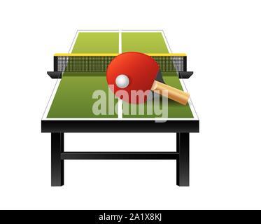 Tennis de table 3D matériel de ping-pong avec un filet, raquette et balle isolé sur fond blanc, vector Banque D'Images