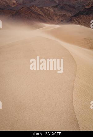 Vent qui souffle sur le sable des dunes de sable Banque D'Images