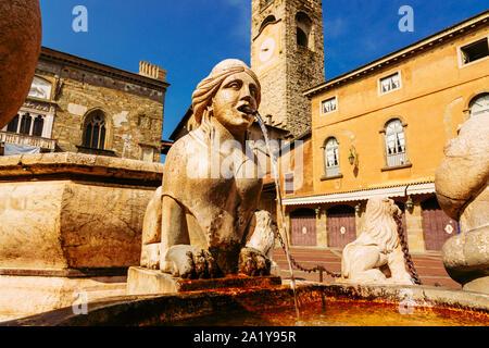 Contarini fontaine sur la Piazza Vecchia, Citta Alta, ville de Bergame, Italie