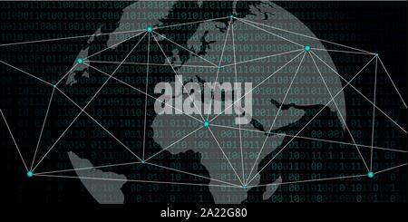 Réseau numérique avec un code binaire monde background vector illustration EPS10 Banque D'Images