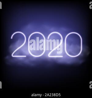 Bonne année 2020. Texte Néon de Lumière. Conception de carte de vœux. Vector illustration. Banque D'Images