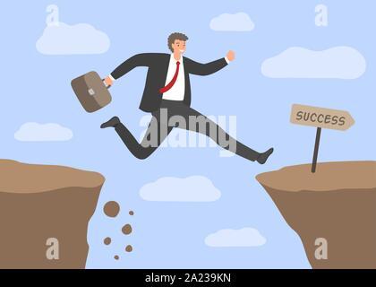 Défis et succès . Businessman saute au-dessus de l'abîme. Notion de risques d'entreprise, de surmonter les obstacles au travail, à la manière dure de la réussite. Vector illu Banque D'Images