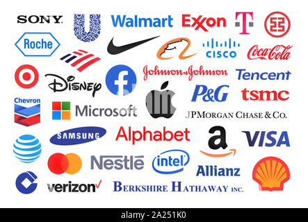 Kiev, Ukraine - le 19 septembre 2019: Close-up shot de logos imprimés sur du papier de la liste des 25 entreprises les plus performantes dans le monde. Banque D'Images