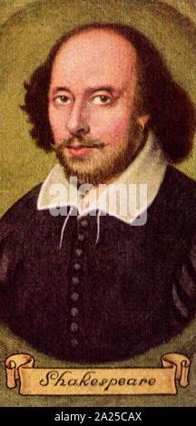 William Shakespeare (1564 - 1616) poète anglais, dramaturge et comédien, largement considéré comme le plus grand écrivain de langue anglaise. Carreras cigarette card Banque D'Images
