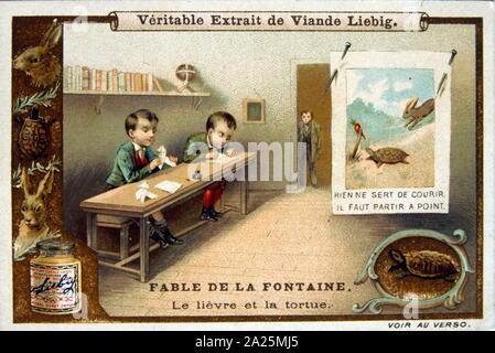 Illustration d'une édition 1900 des fables de Jean de La Fontaine (1621 - 1695), français et fabuliste l'un des plus lu des poètes français du 17e siècle. Il est surtout connu pour ses fables, qui a fourni un modèle pour les fabulists dans toute l'Europe. Jean de La Fontaine fables recueillies à partir de sources très diverses, en Occident et en Orient, et les a adaptés en français le vers libre. Ils ont été publiés sous le titre général de Fables en plusieurs volumes de 1668 à 1694 et sont considérés comme des classiques de la littérature française.