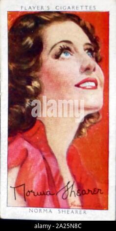 Les cigarettes Player's card représentant Norma Shearer. Edith Norma Shearer (1902-1983) une actrice canado-américaine. Banque D'Images