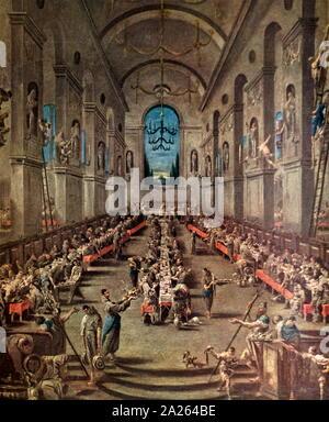 L'observateur Frères au réfectoire, 1737, par Alessandro Turchi (1667 - 1749), connu sous le nom de il Lissandrino, un peintre du baroque tardif italien principalement actif à Milan et Gênes. Il est surtout connu pour, stylisée, souvent fantastique paysage fantasmagorique ou scènes de genre Banque D'Images