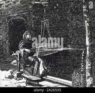 Une gravure représentant une femme à l'aide d'un métier de tartre, une ville et la capitale de la. En date du 19e siècle Banque D'Images