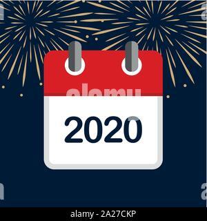 Nouvelle année 2020 calendrier rouge fond artifice vector illustration EPS10 Banque D'Images