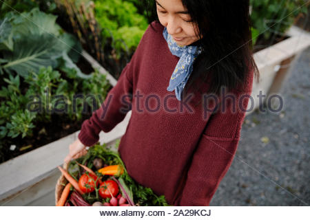 Femme transportant panier de légumes frais récoltés dans le jardin Banque D'Images
