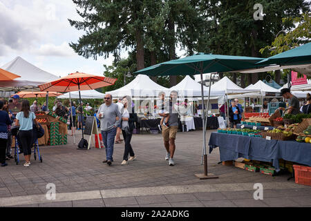 Lake Oswego, Oregon, USA - Sep 14, 2019: Le samedi marché de fermiers dans la région de Lake Oswego, dans une banlieue du sud au sein de la région métropolitaine de Portland. Banque D'Images
