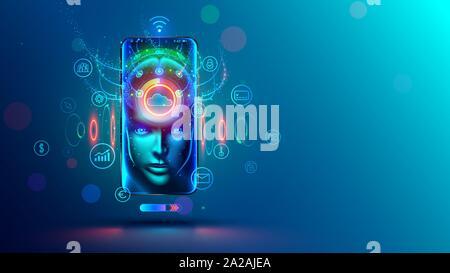 L'IA au téléphone. Dans l'assistance en ligne mobile phone avec l'intelligence artificielle. Chatbot et internet helper dans le smartphone. Personnel virtuel d'app Banque D'Images
