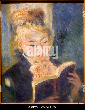 '''La liseuse'', 1874-1876, Pierre Auguste Renoir, 1841-1919, Musée d'Orsay, Paris, France, Europe Banque D'Images